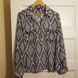 Dressy shirt with tiny silver tone buttons
